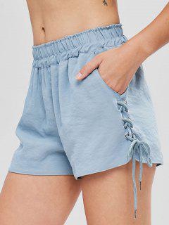 Pockets Lace Up High Waisted Shorts - Baby Blue M