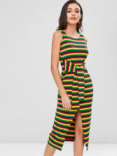 Colorful Stripes Slit Midi Dress - Multi L