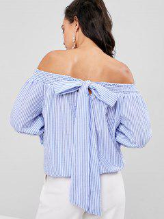 Striped Baring Shoulder Blouse - Sky Blue L