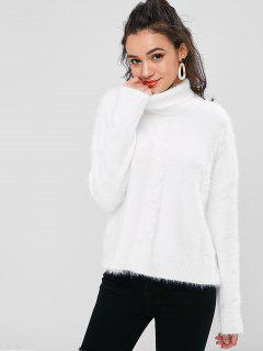 Cable Knit Turtle Neck Sweater - White