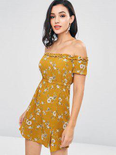 Off Shoulder Floral A Line Dress - Orange Gold Xl
