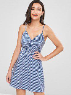 Stripes Tie Front Cami Dress - Blue L