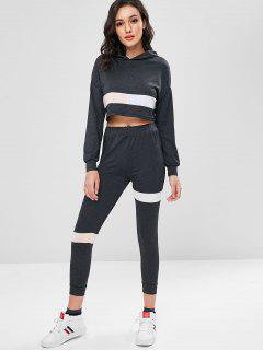 Marl Color Block Cropped Hoodie Set - Carbon Gray L