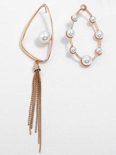 Oval Faux Pearl Asymmetric Earrings - Gold