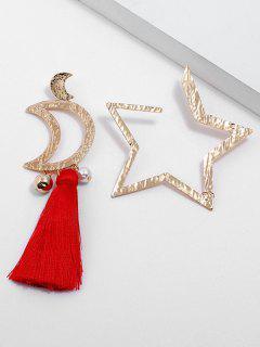 Star Moon Asymmetric Earrings - Gold