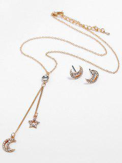 Moon Star Design Pendant Chain Necklace Earrings Set - Gold