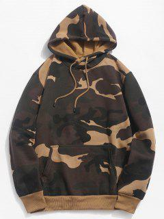 Camouflage Pouch Pocket Fleece Hoodie - Woodland Camouflage M