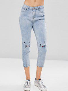 Embroidered Light Wash Boyfriend Jeans - Baby Blue M