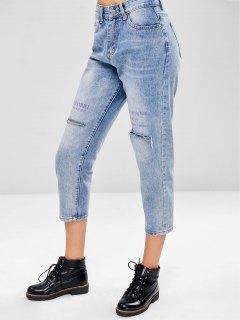 Distressed Boyfriend Jeans - Baby Blau L