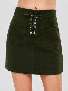 Pocket Lace-up Mini Skirt - Army Green S