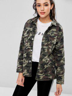 Drop Shoulder Camo Slit Denim Jacket - Multi