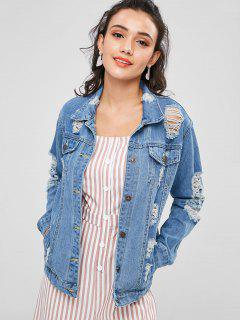Distressed Denim Jean Jacket - Denim Blue