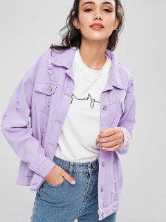 Ripped Boyfriend Denim Jacket - Mauve L