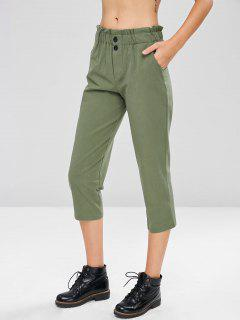 High Waisted Casual Pants - Camouflage Green L