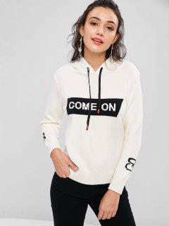 Hooded Drawstring Graphic Sweater - Beige