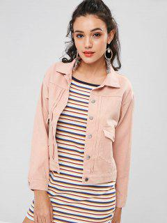 Denim Single Breasted Jacket - Orange Pink M