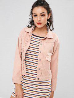 Denim Single Breasted Jacket - Orange Pink L