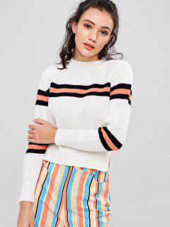Gestreifter Pullover - Weiß L
