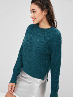 Plain Slit Sweater - Beetle Green L