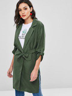 Belted Longline Trench Coat - Medium Sea Green M
