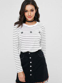 Stripes Embroidered Tee - White M