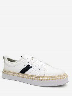 Stripe Decorative PU Leather Sneakers - White 36