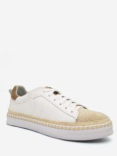 Contrasting Color PU Leather Sneakers - White 40