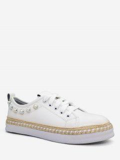Faux Pearl Decorative Low Top Sneakers - White 36