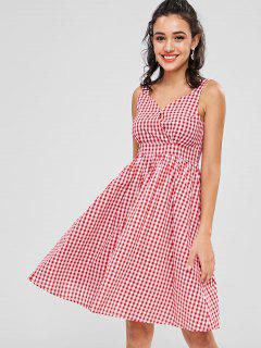Sweetheart Neck Gingham Dress - Cherry Red S