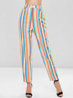 High Waisted Striped Straight Pants - Multi L