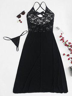 Sheer Lace Tulle Midi Chemise Lingerie Set - Black S