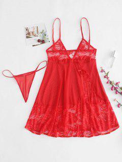 Sheer Lace Babydoll Slip Dress Lingerie Set - Red S