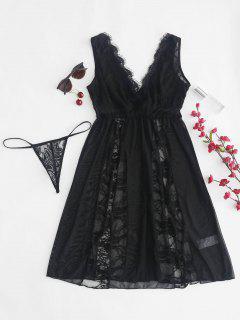 Sheer Lace Tulle Chemise Lingerie Set - Black S