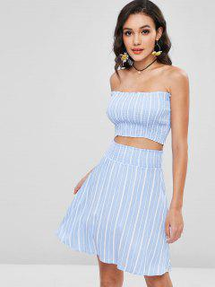 Smocked Bandeau Top And Skirt Two Piece Set - Light Blue S