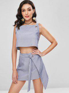 Grommet Strap Top And Skirt Two Piece Set - Slate Blue M