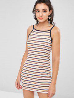 Ribbed Colorful Stripes Mini Dress - Multi L