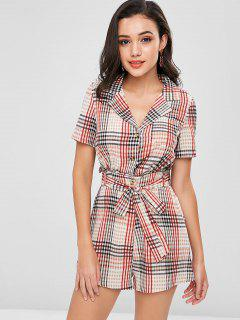 High Waisted Plaid Belted Romper - Multi M