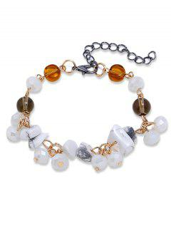 Artificial Gem Beads Chain Bracelet - White