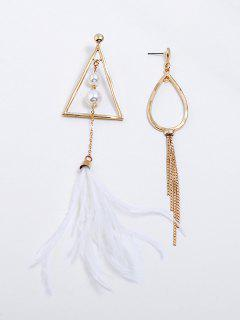 Asymmetric Geometric Shape Tassel Drop Earrings - White