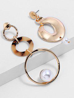 Hollow Artificial Pearl Asymmetric Drop Earrings - Gold