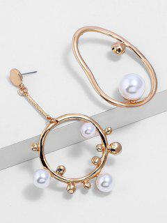 Geometric Design Artificial Pearl Alloy Earrings - Gold