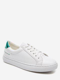 Tie Up Flat Heel PU Leather Sneakers - Green 34