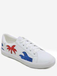 Sequin Palm Tree Flat Heel Sneakers - White 36