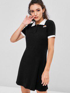 Half Buttoned Rainbow Embroidered Mini Dress - Black S