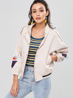 Embroidery Drop Shoulder Striped Hem Jacket - Light Khaki S