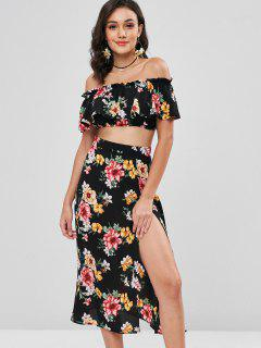 Off Shoulder Floral Slit Skirt Set - Black M