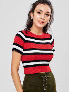 Stripe Knit T-shirt - Love Red