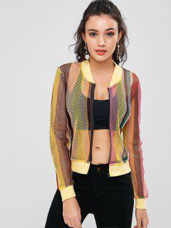 Zip Up Striped Fishnet Jacket - Multi L