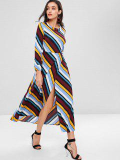 Open Back Striped Maxi Dress - Multi L