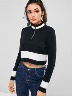 Boxy Two Tone Half Zip Sweater - Black M